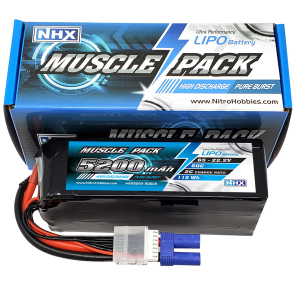 NHX Muscle Pack 6S 22.2V 5200mAh 50C Lipo Battery w/ EC5 Connector