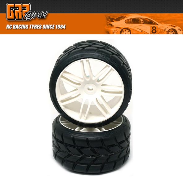 GRP GWH22-XR1 1:5 TC W22 RAIN XR1 ExtraSoft Rain Tire w/ White Wheel (2)
