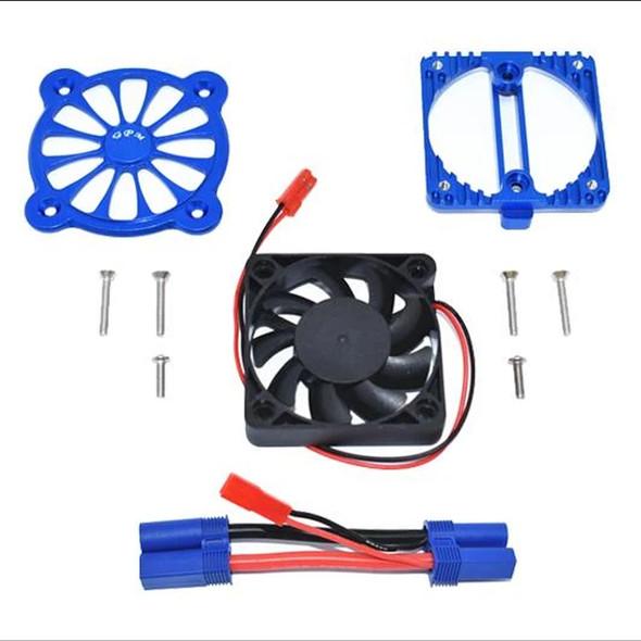 GPM Aluminum Motor Heatsink w/ Cooling Fan Blue : 1/10 4S Kraton / 3S Senton