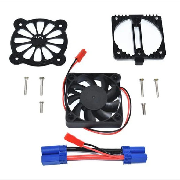 GPM Aluminum Motor Heatsink w/ Cooling Fan Black : 1/10 4S Kraton / 3S Senton