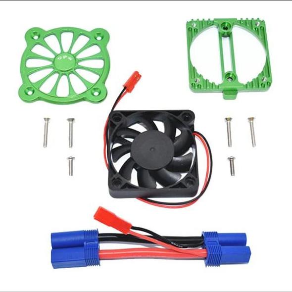 GPM Aluminum Motor Heatsink w/ Cooling Fan Green : 1/10 4S Kraton / 3S Senton