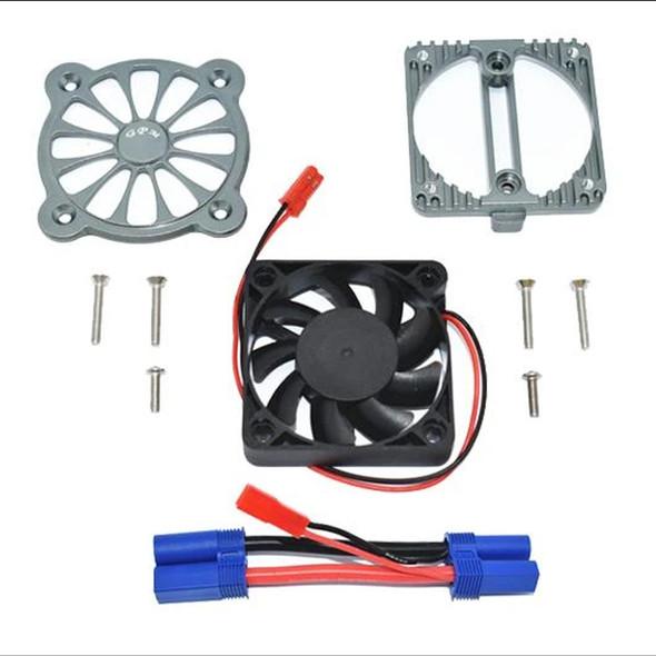 GPM Aluminum Motor Heatsink w/ Cooling Fan Grey : 1/10 4S Kraton / 3S Senton