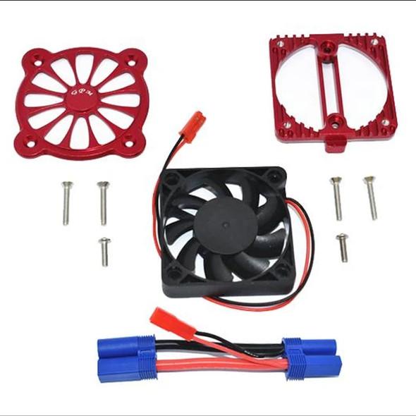 GPM Aluminum Motor Heatsink w/ Cooling Fan Red : 1/10 4S Kraton / 3S Senton