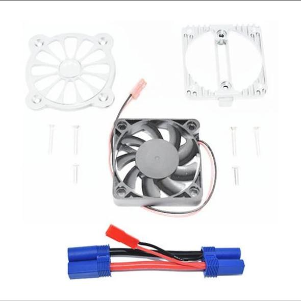 GPM Aluminum Motor Heatsink w/ Cooling Fan Silver : 1/10 4S Kraton / 3S Senton