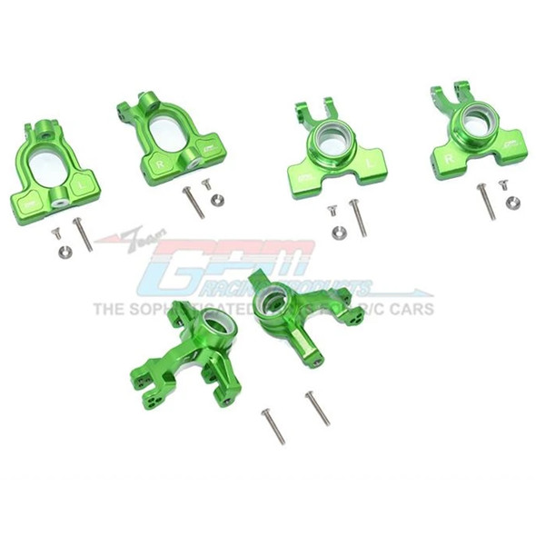 GPM Alum Front C-Hubs + Front & Rear Knuckle Arms Green : 1/10 Kraton 4S BLX