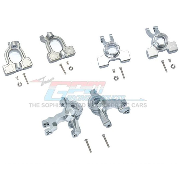GPM Alum Front C-Hubs + Front & Rear Knuckle Arms Grey : 1/10 Kraton 4S BLX