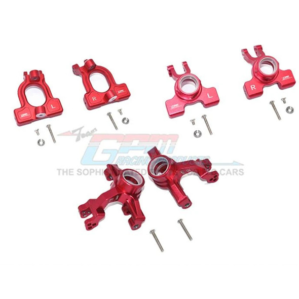 GPM Alum Front C-Hubs + Front & Rear Knuckle Arms Red : 1/10 Kraton 4S BLX
