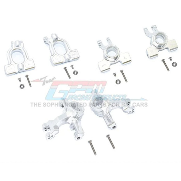 GPM Alum Front C-Hubs + Front & Rear Knuckle Arms Silver : 1/10 Kraton 4S BLX
