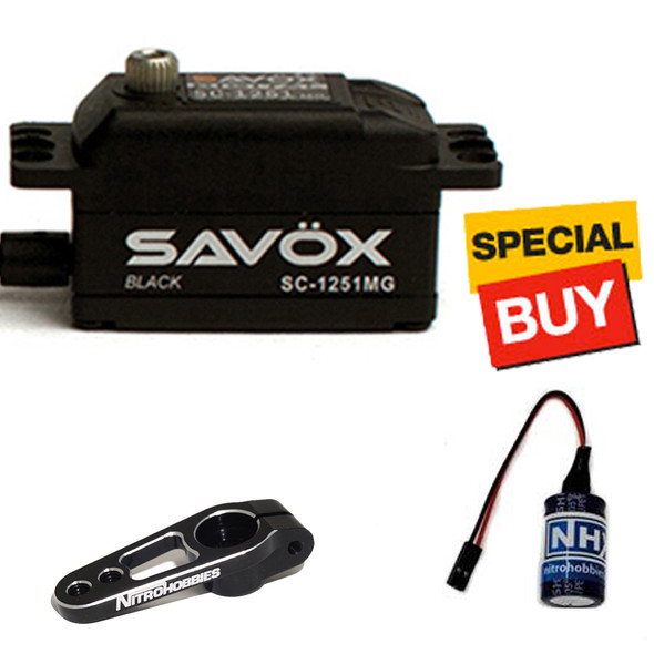 Savox Black Edition Low Profile Digital Servo w/ Black Alum Horn / Glitch Buster