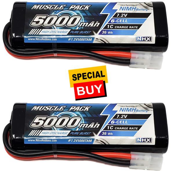 NHX Muscle Pack 7.2V 5000mAh 6-Cell Nimh Battery w/ Tamiya Connector (2)