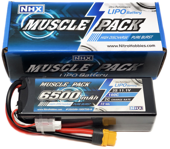 NHX Muscle Pack 3S 11.1V 6500mAh 100C Hard Case Lipo Battery w/ Traxxas Adapter