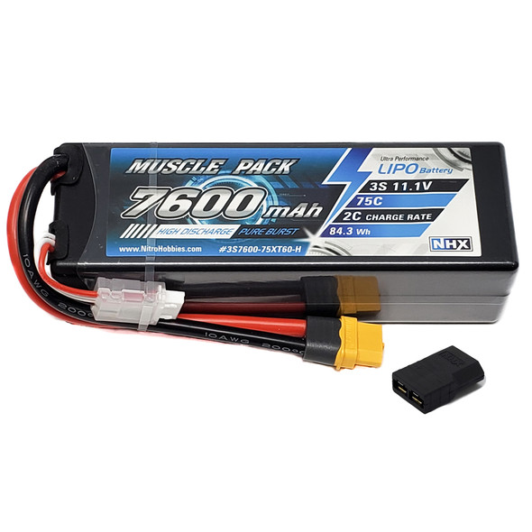 NHX Muscle Pack 3S 11.1V 7600mAh 75C Hard Case Lipo Battery w/ Traxxas Adapter