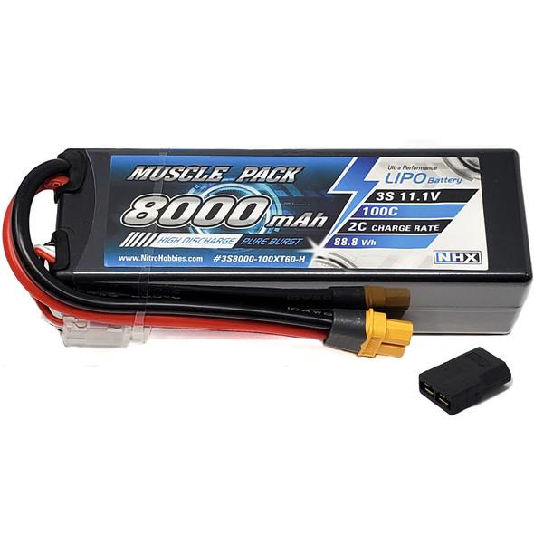 NHX Muscle Pack 3S 11.1V 8000mAh 100C Hard Case Lipo Battery w/ Traxxas Adapter