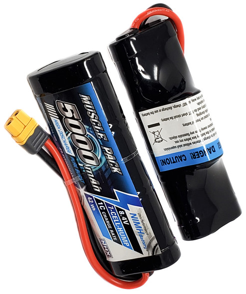 NHX Muscle Pack 8.4V 5000mAh 7-Cell Nimh Hump Battery w/ Traxxas Adapter