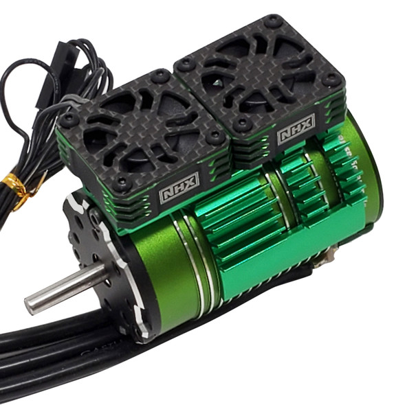 NHX 1/8 Twin Cyclone Alum HV Cooling Fans w/Cover 28000 RPM Motor Heatsink Black