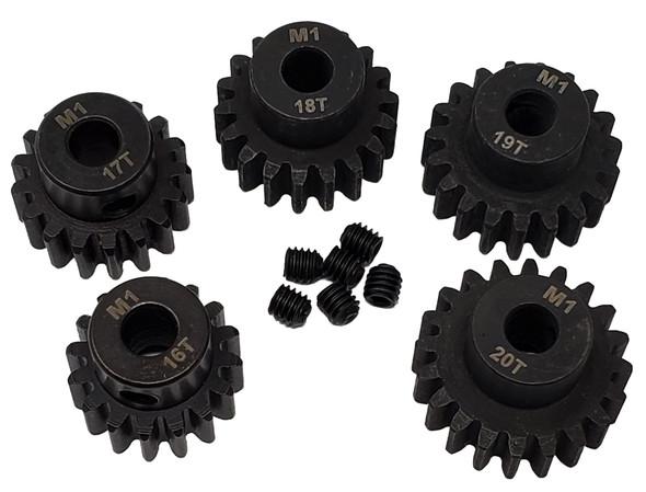 NHX MOD1 5mm Bore Hardened Steel Pinion Gears: 16T, 17T, 18T, 19T, 20T