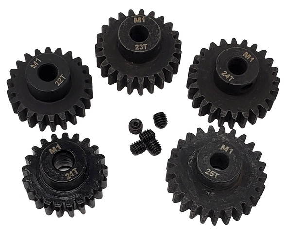 NHX MOD1 5mm Bore Hardened Steel Pinion Gears: 21T, 22T, 23T, 24T, 25T