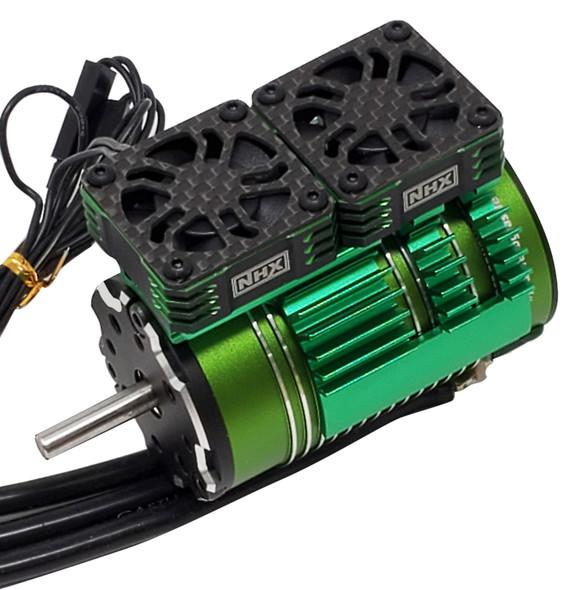NHX 1/8 Twin Cyclone Alum HV Cooling Fans w/Cover 28000 RPM Motor Heatsink Green