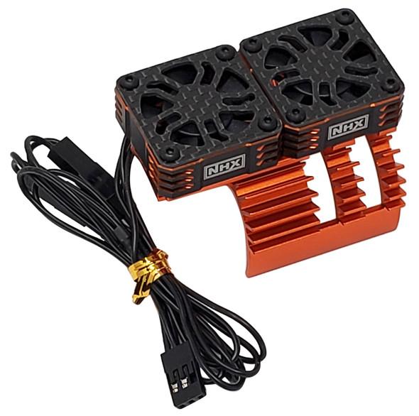 NHX 1/8 Twin Cyclone Alum HV Cooling Fans w/Cover 28000 RPM Motor Heatsink Orange