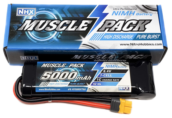 NHX Muscle Pack 8.4V 5000mAh 7-Cell Nimh Battery w/ XT60 Connector