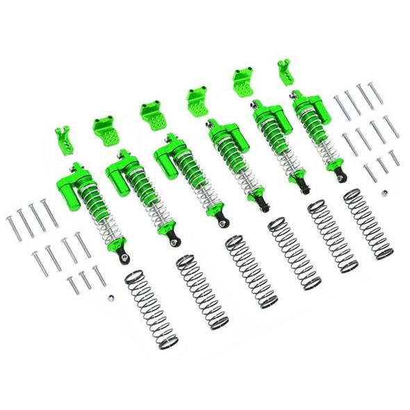 GPM Alum L-Shape Piggy Back Spring Dampers 90mm+Adj Damper Mount Green : TRX-6