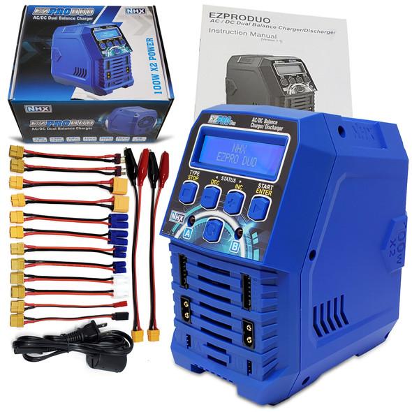 NHX EZPRO DUO 100W X2 Dual AC/DC 12A LIPO/LIHV & NIMH RC Battery Balance Charger