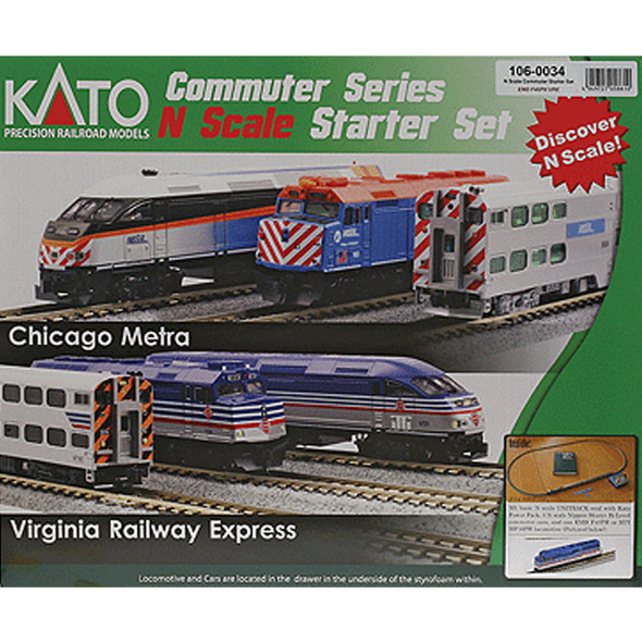 Kato 106-0034 F40PH Commuter Train Starter Set Virginia Railway Express N Scale