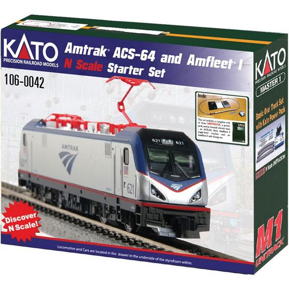 Kato 106-0042 Amtrak ACS-64 Amfleet I Starter Set Phase VI Scheme N Scale