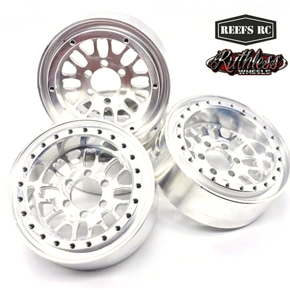 "Reef's RC Fury Off-Road Beadlock 1.9"" Alum Wheels w/ Silver Rings & Hardware (4pcs)"