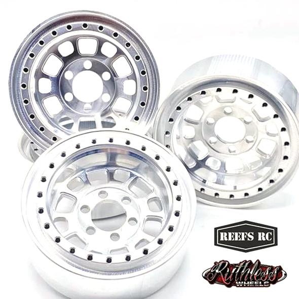 "Reef's RC Hammer Off-Road Beadlock 1.9"" Alum Wheels w/ Silver Rings & Hardware (4pcs)"