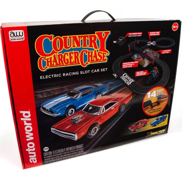 Auto World SRS335 14' Country Charger Chase Slot Race Car Set HO Scale