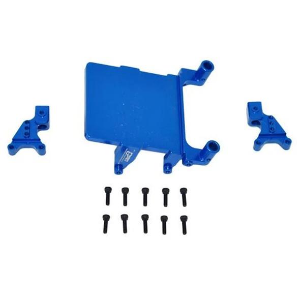 GPM Alum Adjustable Front & Rear Damper Mount Blue : SCX24 Deadbolt / Wrangler
