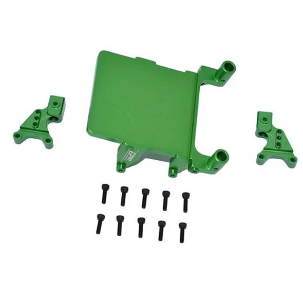 GPM Alum Adjustable Front & Rear Damper Mount Green : SCX24 Deadbolt / Wrangler