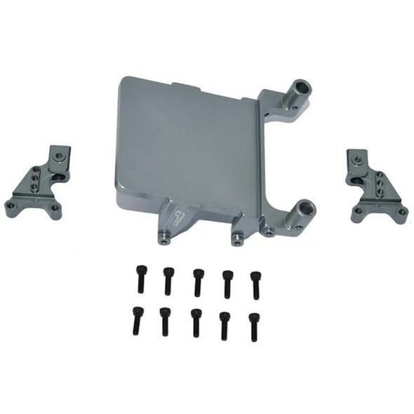 GPM Alum Adjustable Front & Rear Damper Mount Grey : SCX24 Deadbolt / Wrangler