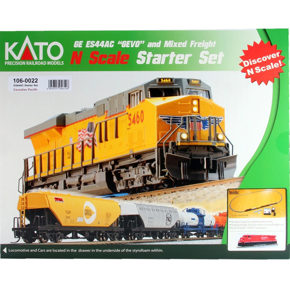 Kato 1060022 GE ES44AC GEVO & Mixed Freight Starter Set Canadian Pacific N Scale