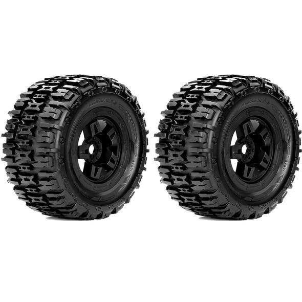 Roapex R/C Renegade 1/8 Monster Truck Tires Mounted on Black Wheels 17mm Hex (2)