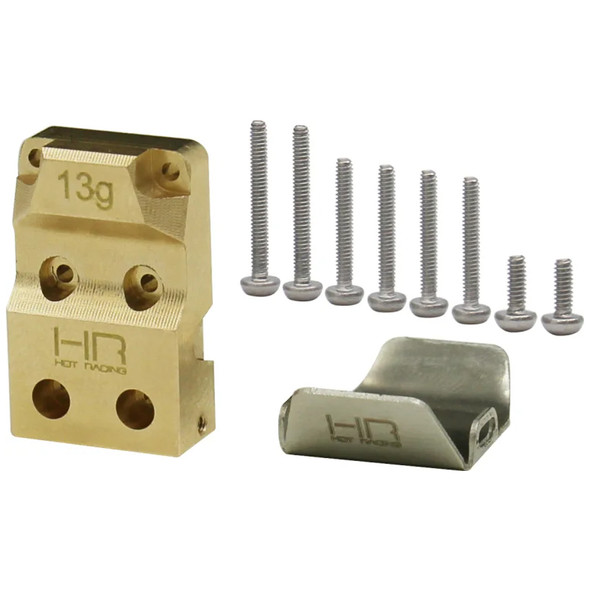 Hot Racing SXTF12CP Brass Diff Cover with SS Skid Plate : SCX24