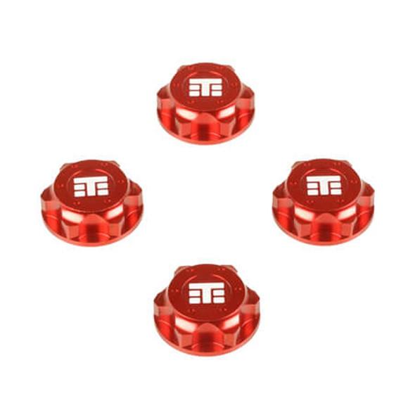 Tekno R/C TKR5116BR Wheel Nuts T Logo 17mm Serrated Red M12x1.0 (4) EB48