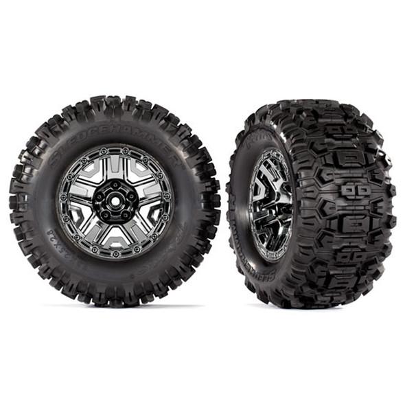 Traxxas 9072 T&W Sledgehammer Black Tires w/ 2.8'' Chrome Wheels (2) : Hoss
