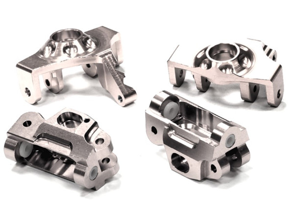 Integy Billet Machined Steering Knuckle & Castor Block Set for HPI 1/12 Savage XS Flux T5023SILVER