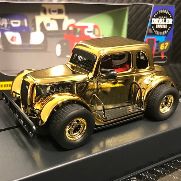 Pioneer P117-DS Legends Racer '34 Ford Coupe Gold Chrome Slot Car 1/32 Scalextric DPR
