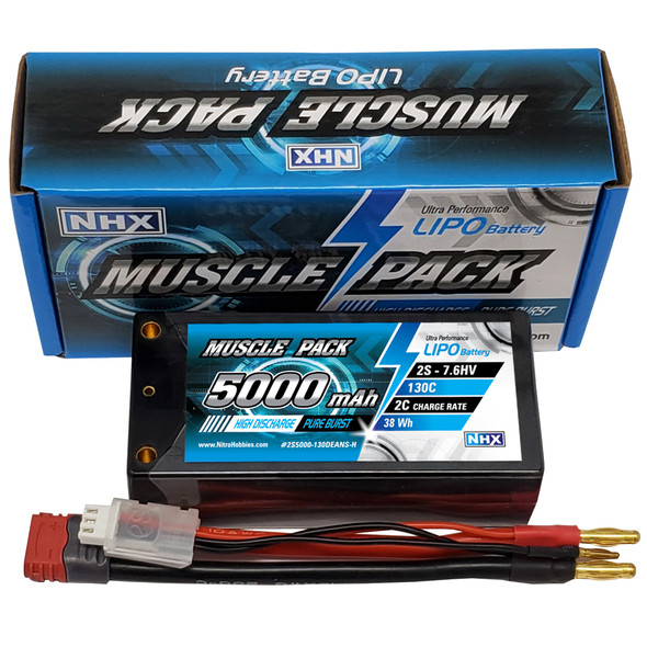 NHX Muscle Pack 2S 7.6 HV 5000mAh 130C Shorty Lipo Battery w/ DEANS Connector