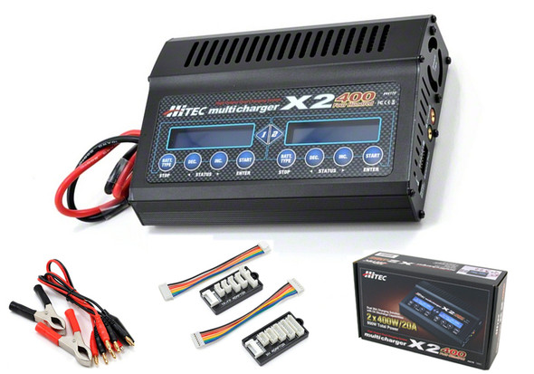 Hitec 44170 X2 400 2-Port Dual Charger Lipo/LiIon/NicD/Nimh