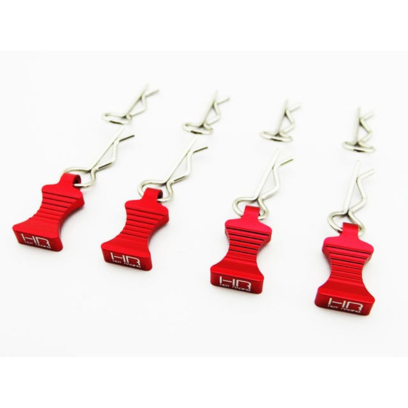Hot Racing Red Aluminum EZ Pulls (4) Body Clips (8) : 1/10 Cars