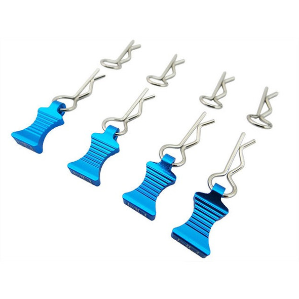 Hot Racing Light Blue Aluminum EZ Pulls (4) Body Clips (8) : 1/10 Cars
