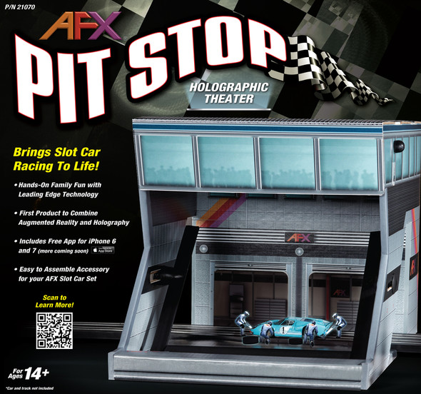 AFX Racing 21070 Pit Stop Holographic Theater HO Slot Car Set
