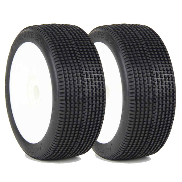 AKA 14019QRW 1/8 Double Down Super Soft Long Wear Tires Wheel Mounted (2): Buggy