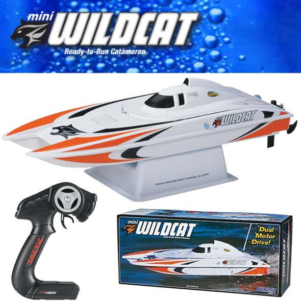 AquaCraft AQUB47NN Mini Wildcat Catamaran Boat RTR Orange w/ Radio / Batt / Chgr
