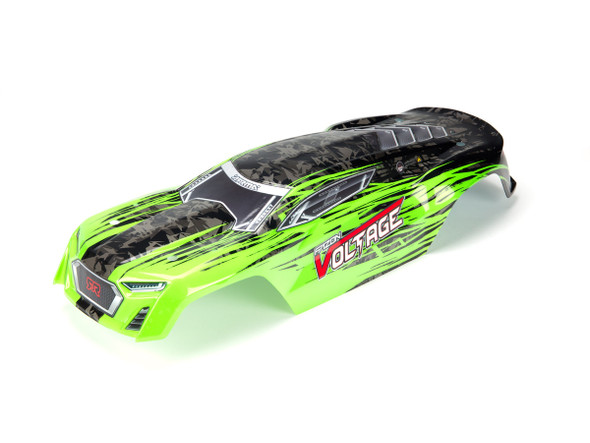 ARRMA AR402197 FAZON VOLTAGE MEGA SRS PAINTED DECALED TRIMMED BODY (GREEN/BLACK)
