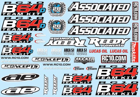Associated 92086 Decal Sheet : RC10B64 / RC10B64D